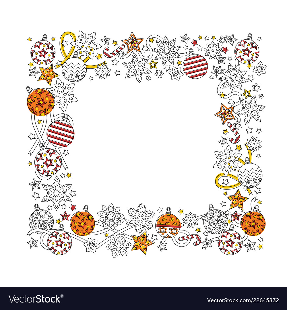 New year hand drawn square frame in zentangle