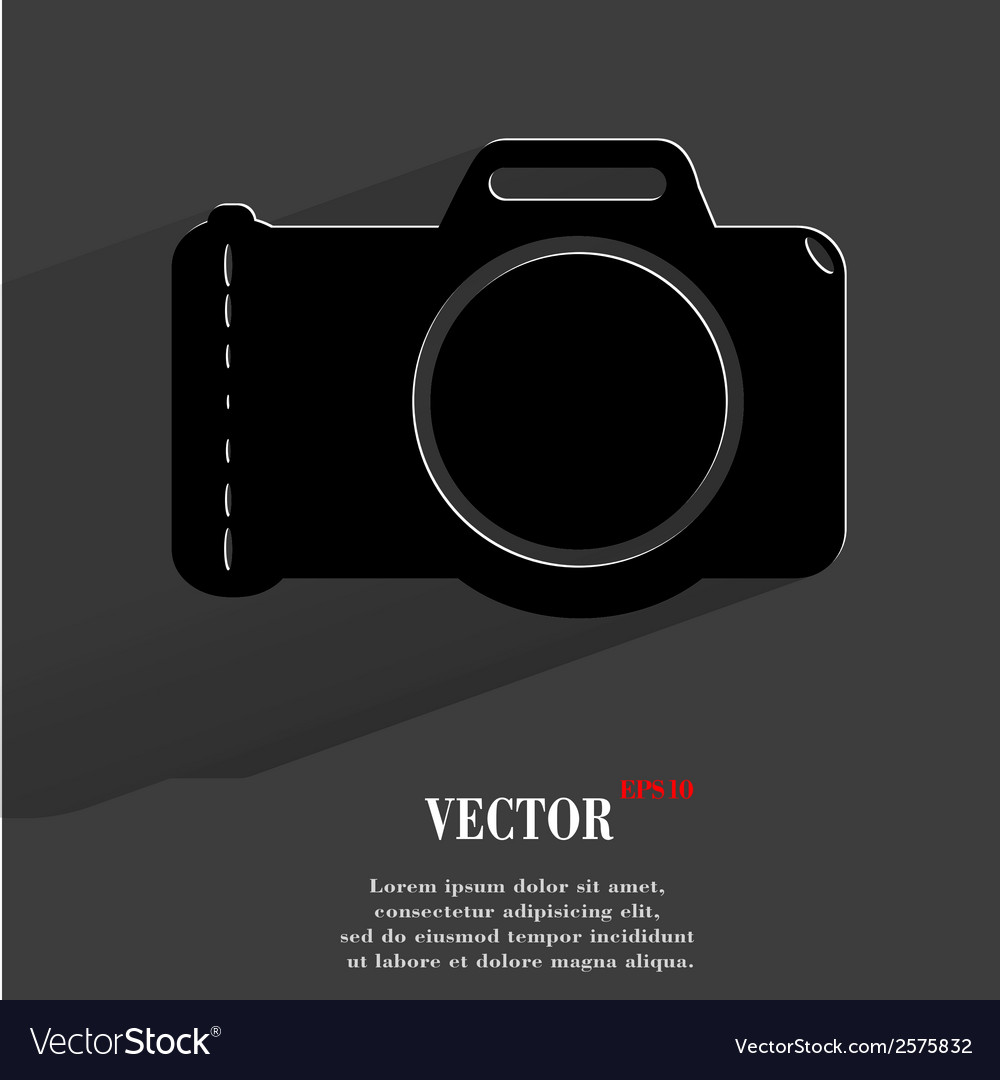 Photo camera Flat modern web button with long