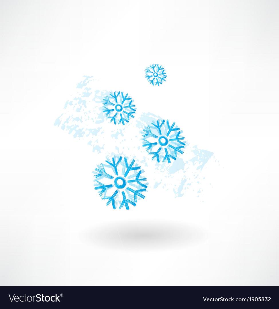 Snoeflakes grunge icon vector image