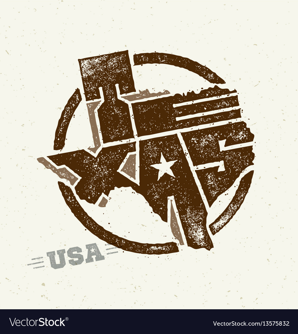Texas The Lone Star Usa State Creative Royalty Free Vector