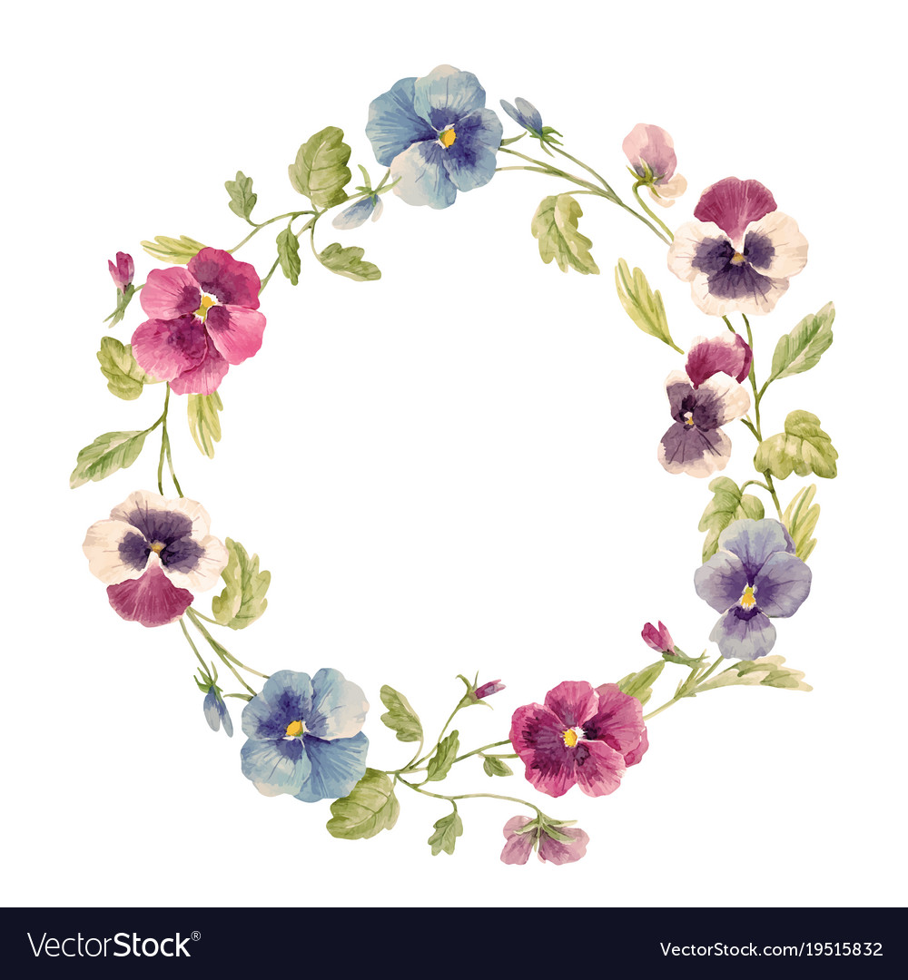 Watercolor pansy flower wreath