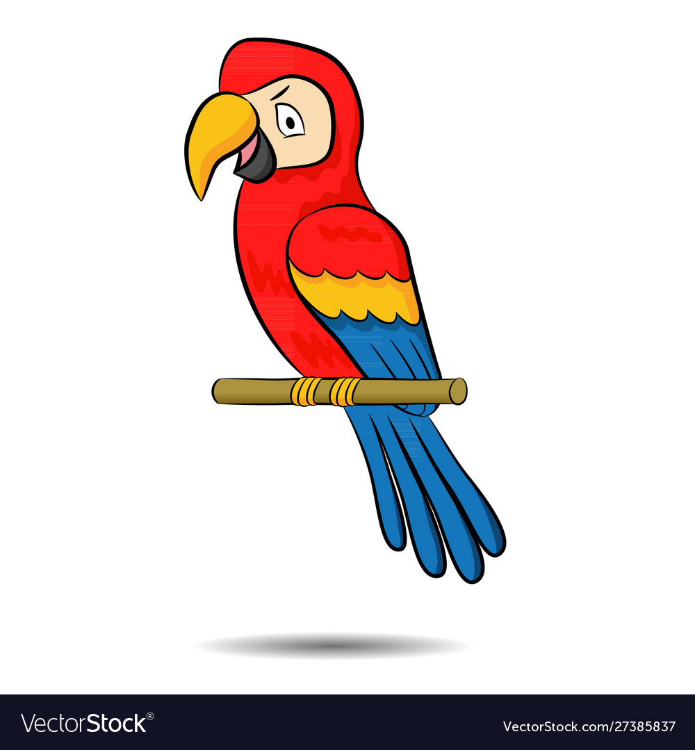 A cute cartoon three colored parrot on a branch