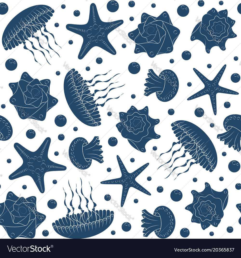 Background with starfish seashells and jellyfish