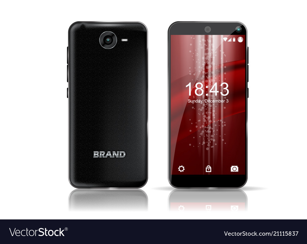Black smartphone front and back view with nice