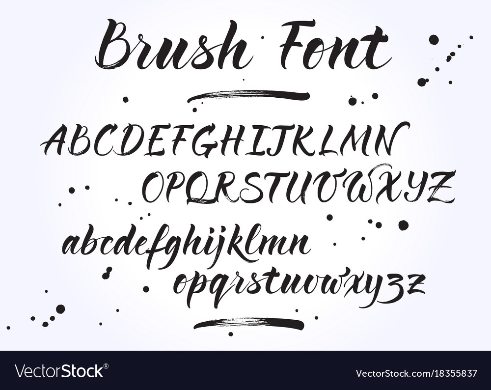 Brush lettering alphabet Royalty Free Vector Image