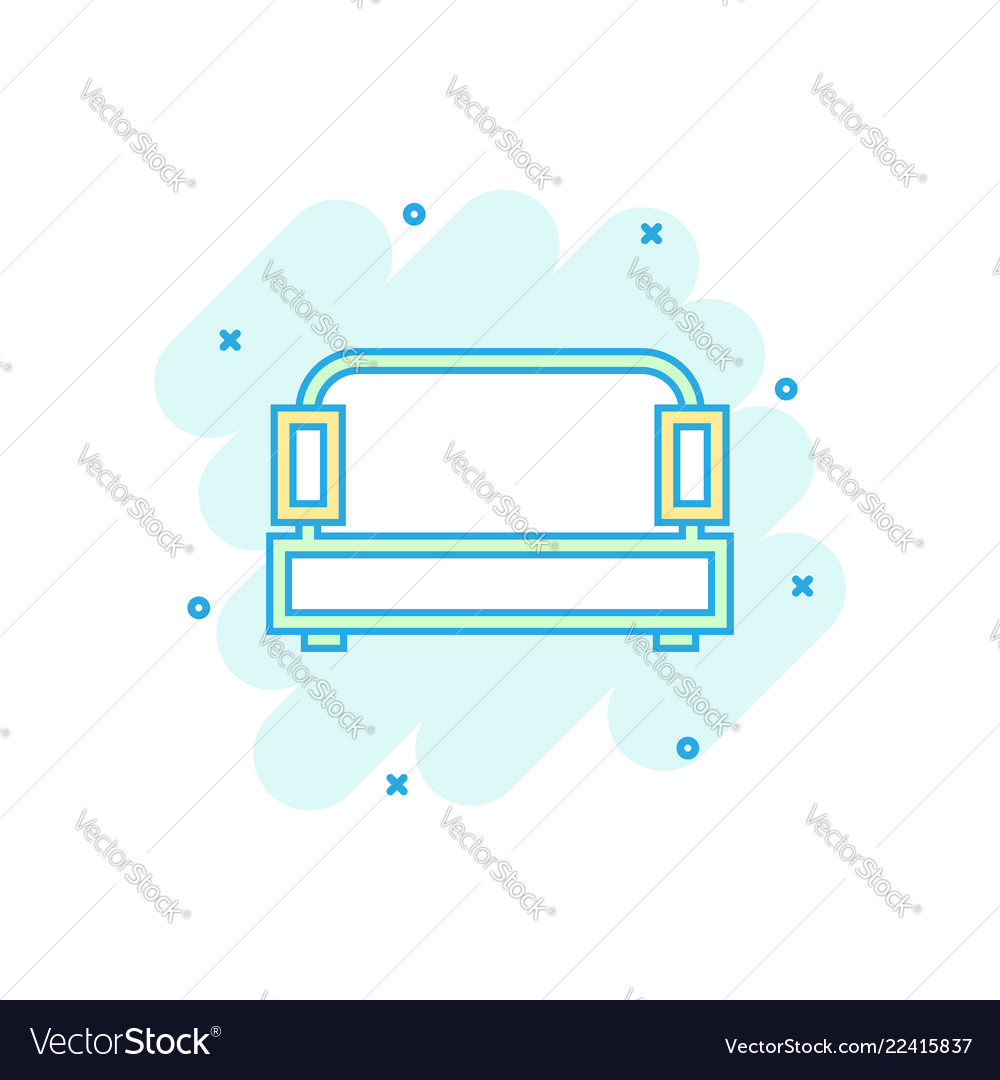 Cartoon Sofa Icon In Comic Style Couch Sign Vector Image