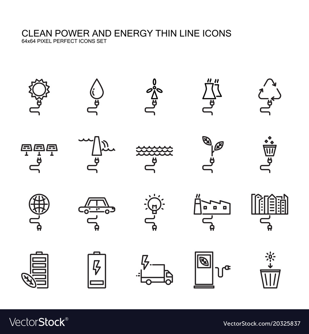 Clean power and green energy thin line icons set
