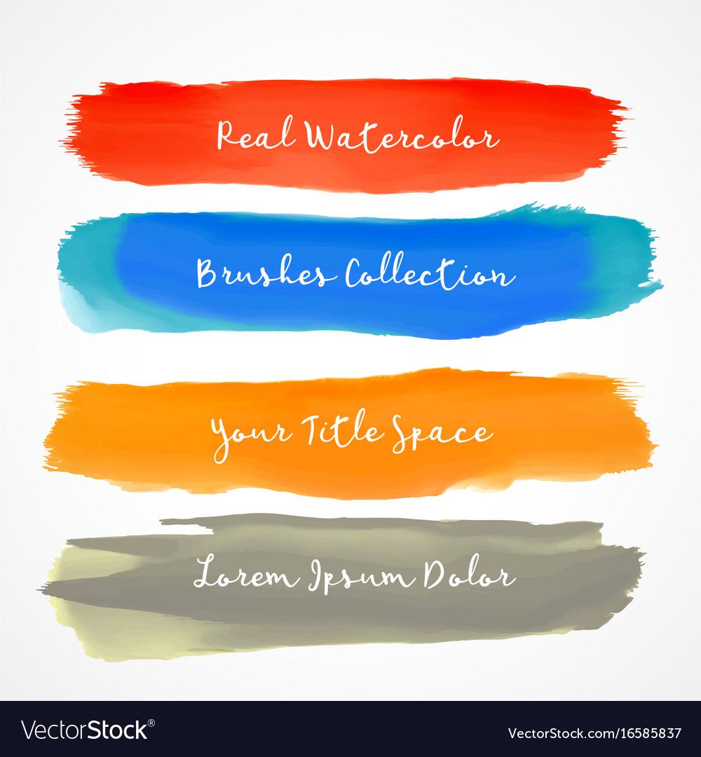Four real watercolor brush stroke set