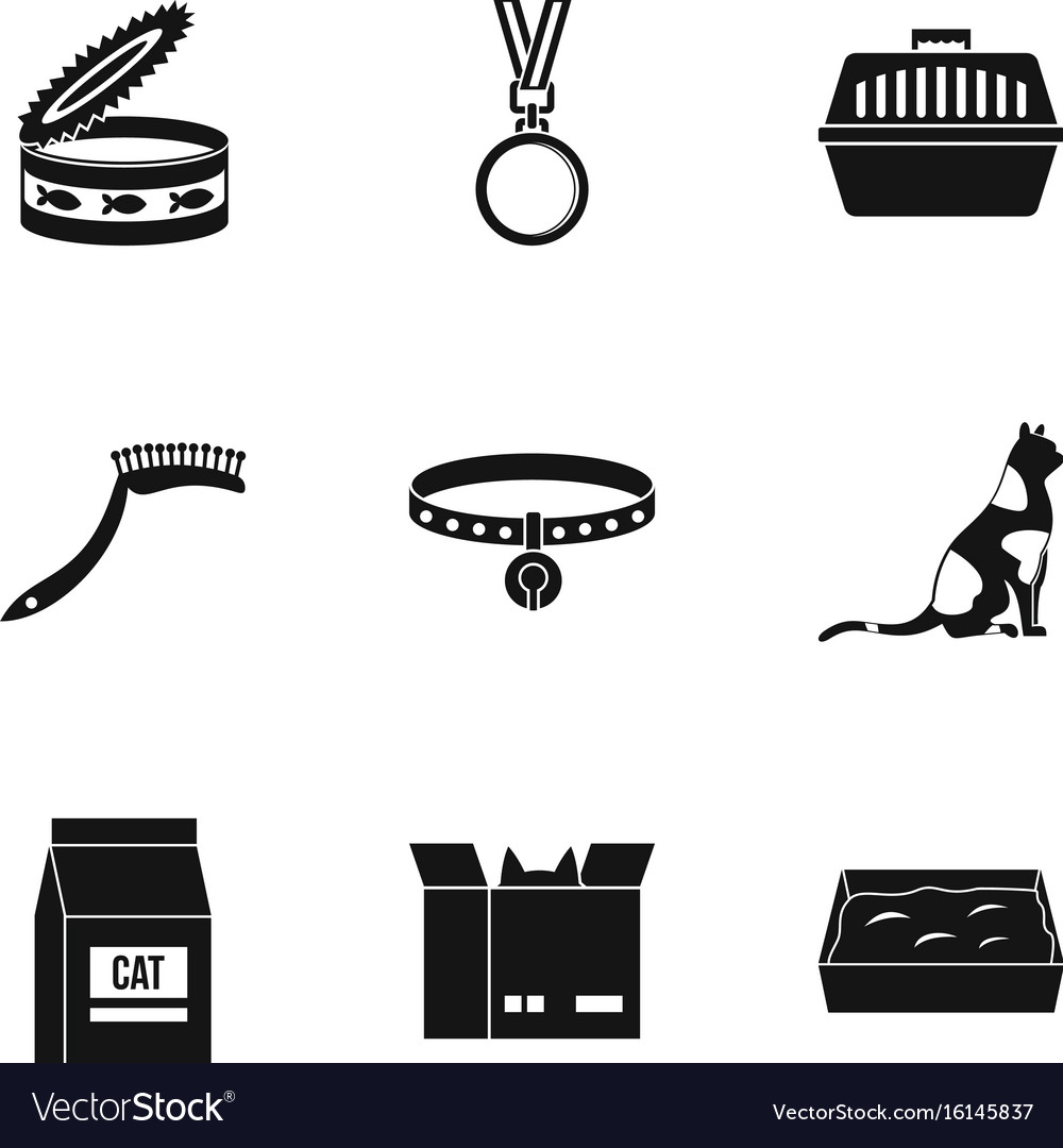 Happy cat life icons set simple style