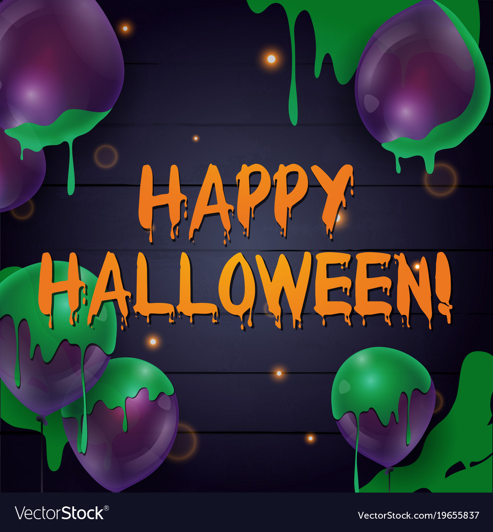 Happy halloween banner with balloons on a dark