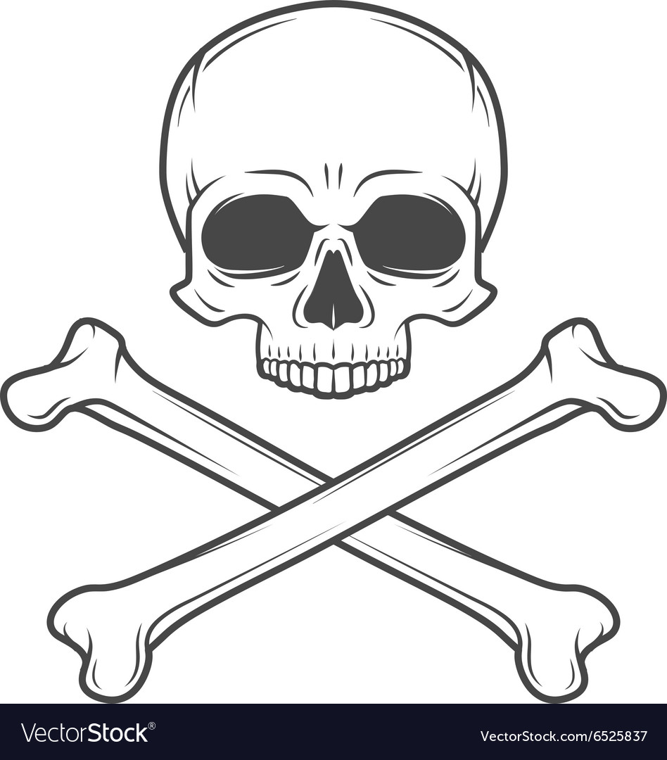 Human evil skull Pirate insignia concept