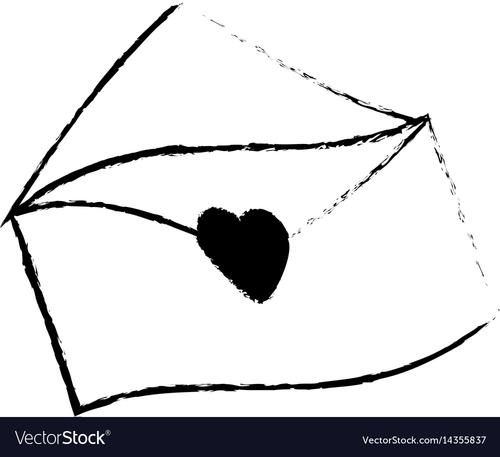 Message envelope romantic sketch vector image