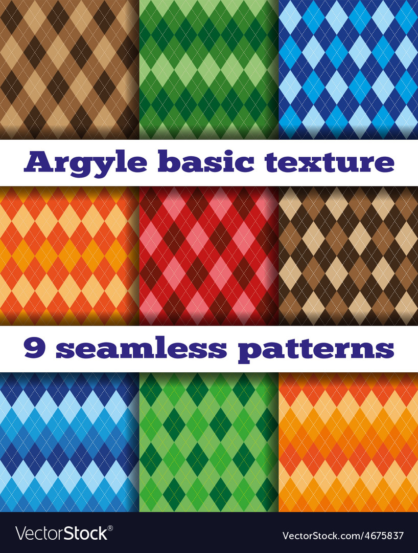 Set Argyle seamless texture vector image