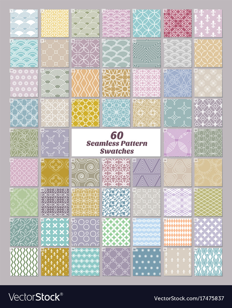 Set of 60 seamless patterns swatches