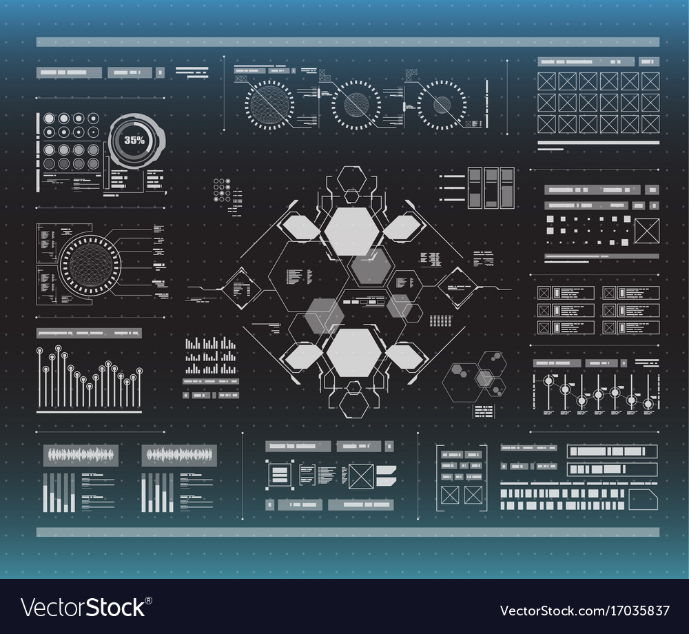 Set of black and white infographic elements head