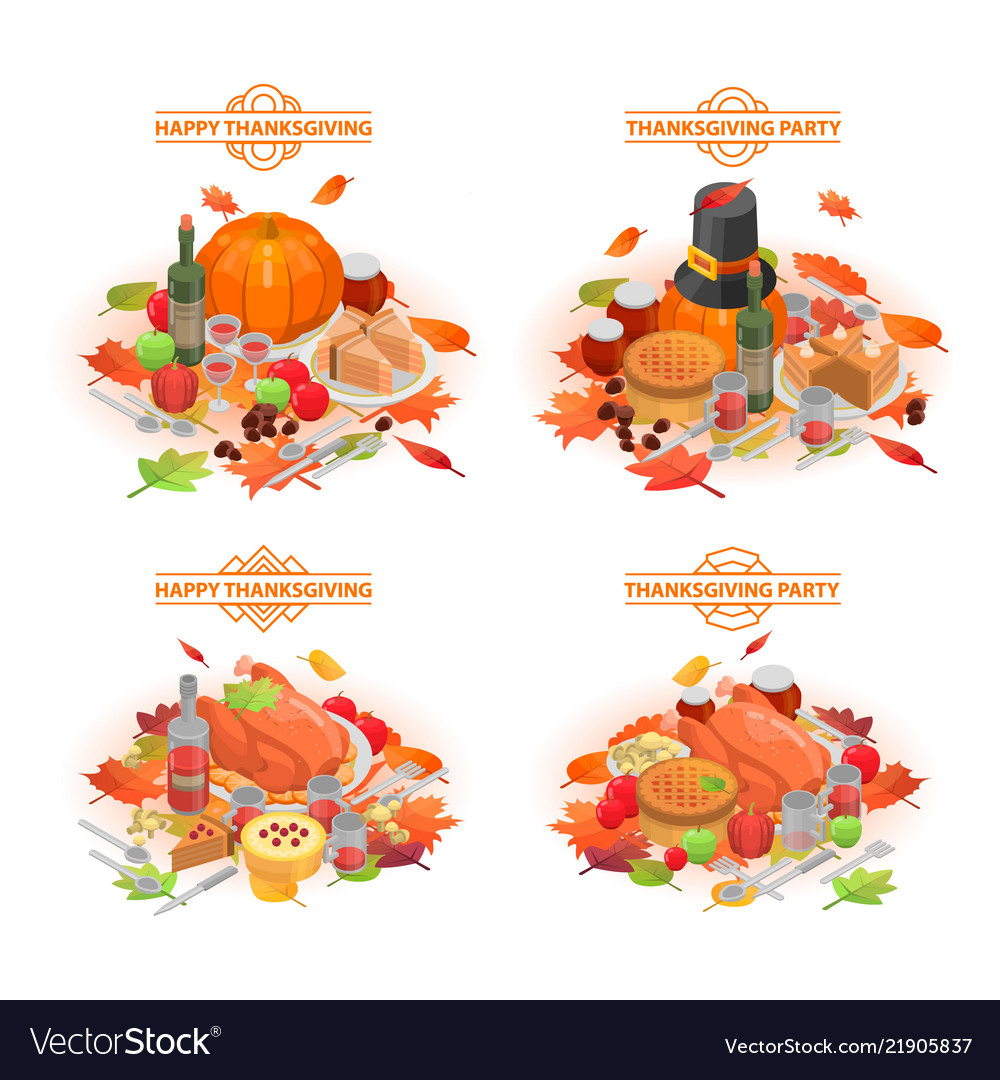 Thanksgiving day banner set isometric style