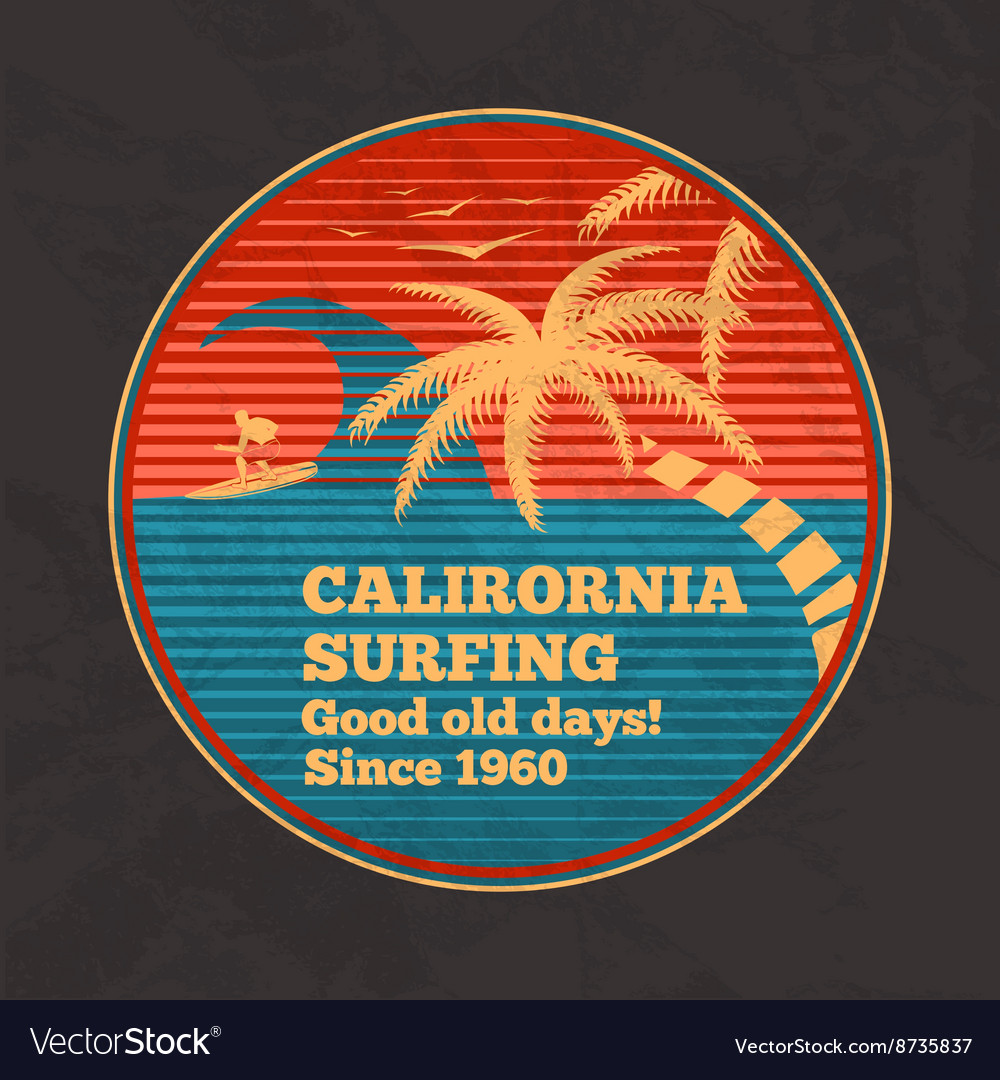 Vintage poster - California Surfing good