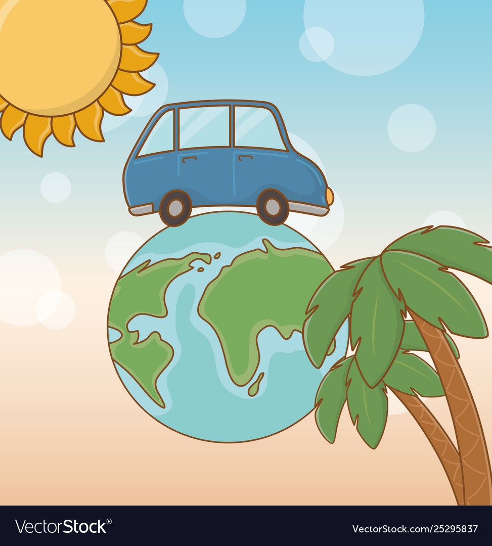 World planet with car and travel vacations items
