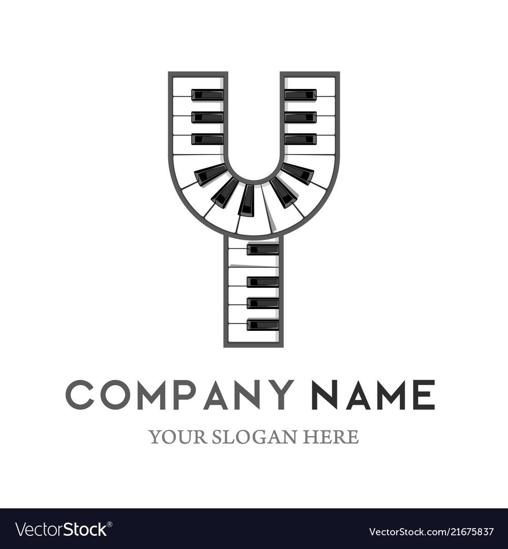 Y letter logo design piano keyboard logo
