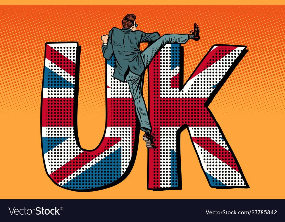 Businessman overcomes the border uk word flag