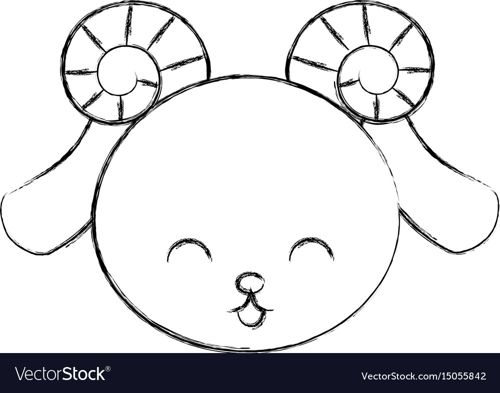 Cute sketch draw goat face vector image