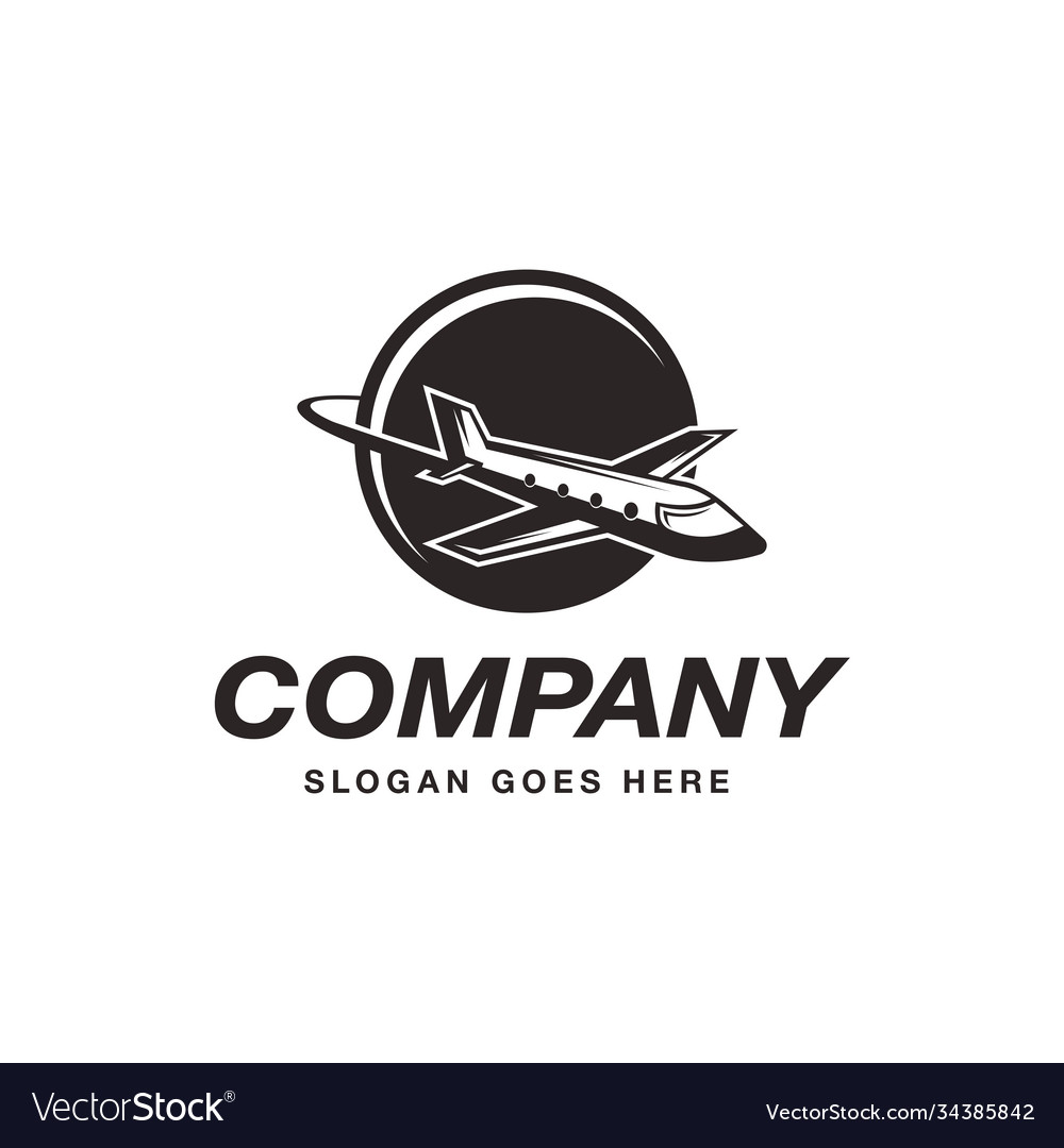 Flying airplane travel logo icon template