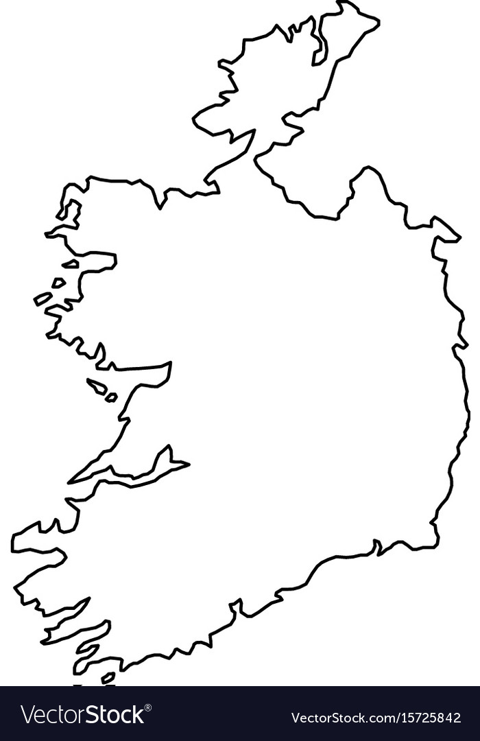Map Of Ireland Vector.Ireland Map Of Black Contour Curves Of