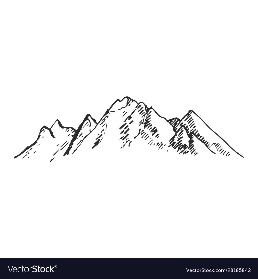 Mountains set hand drawn rocky peaks