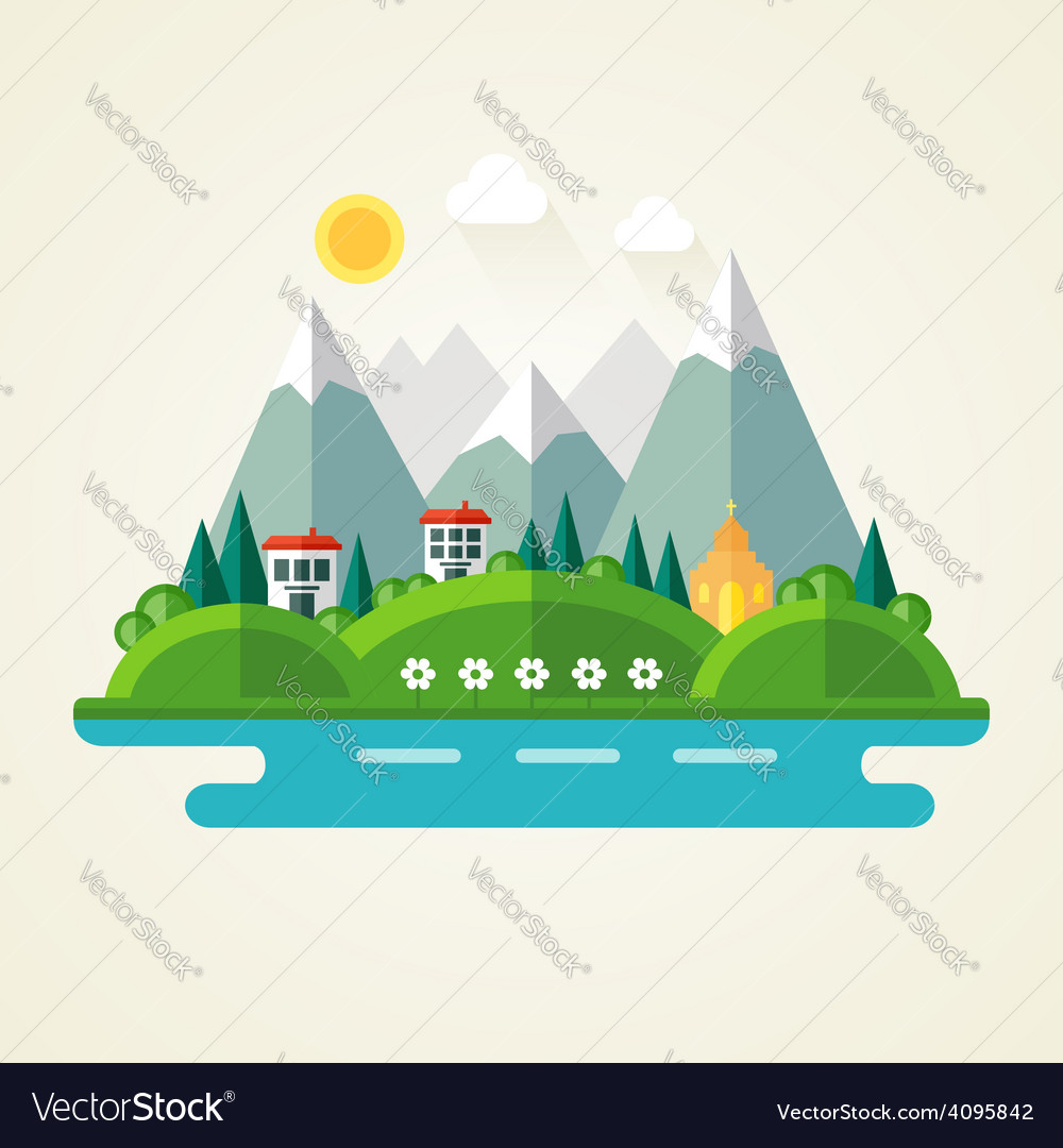 Nature landscape flat icon