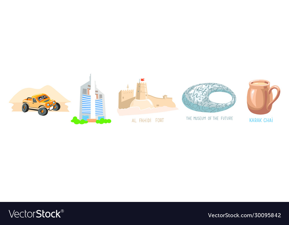 Set 5 hand drawing symbol dubai uae vector