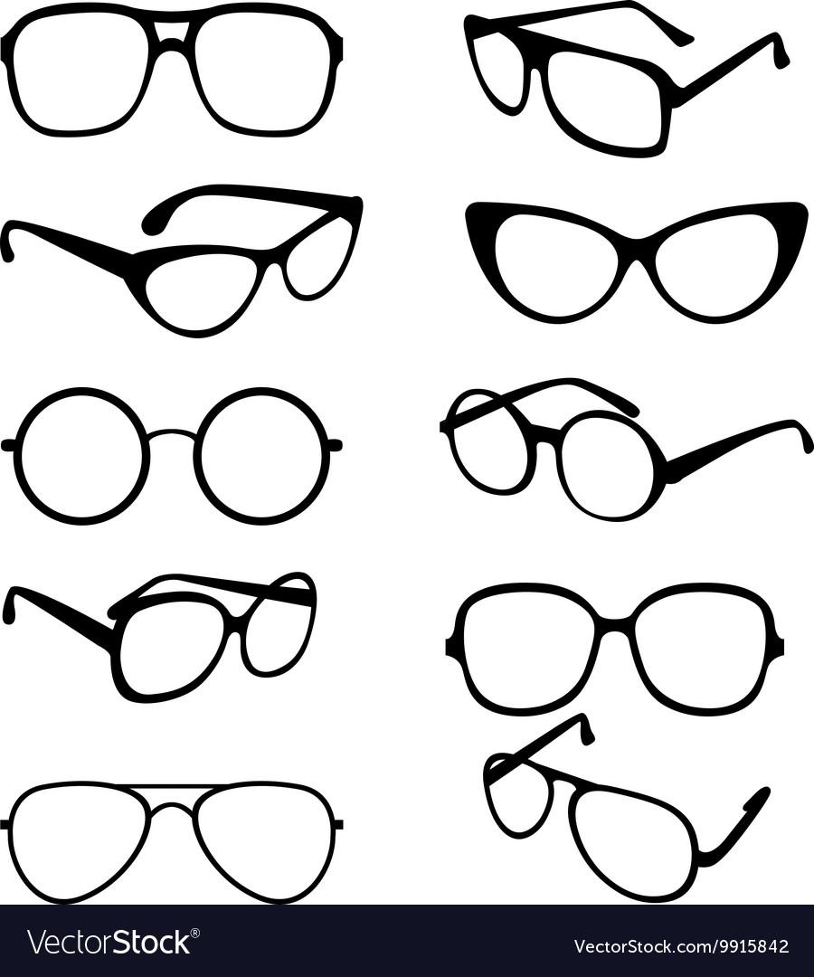 cbc8eda1bc Set black of sunglasses frames royalty free vector image jpg 900x1080 Glasses  frames vector