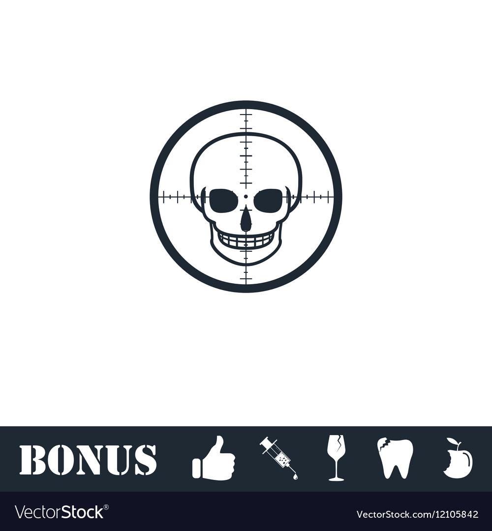 Sniper skull icon flat