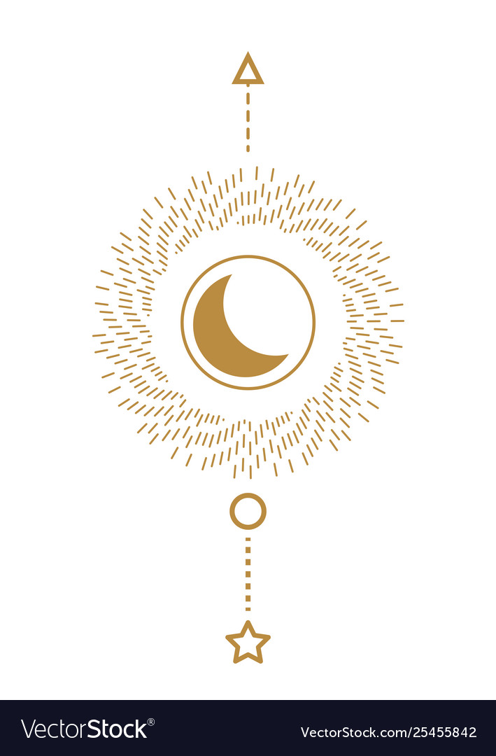Sun and moon sacred line style geometric poster