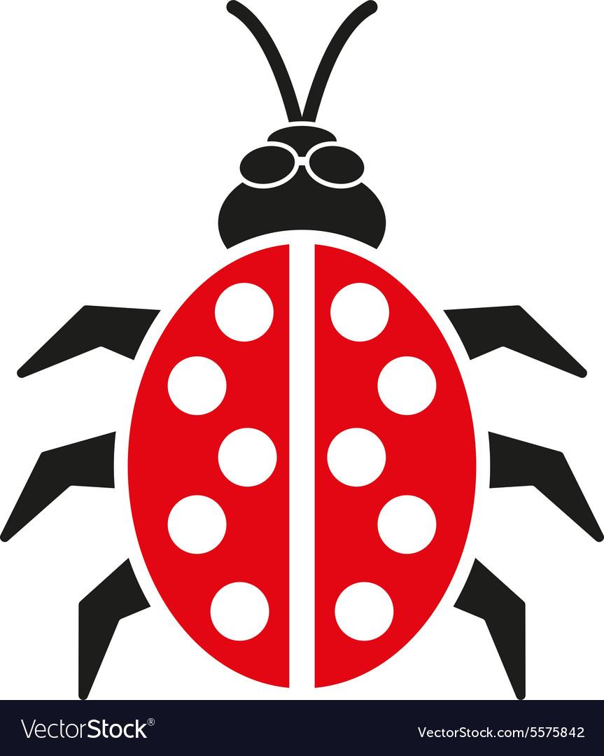 The ladybug icon Ladybird and bug beetle symbol