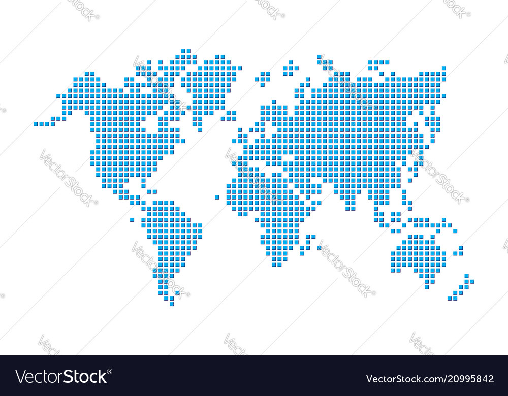 World map pixel style vector image