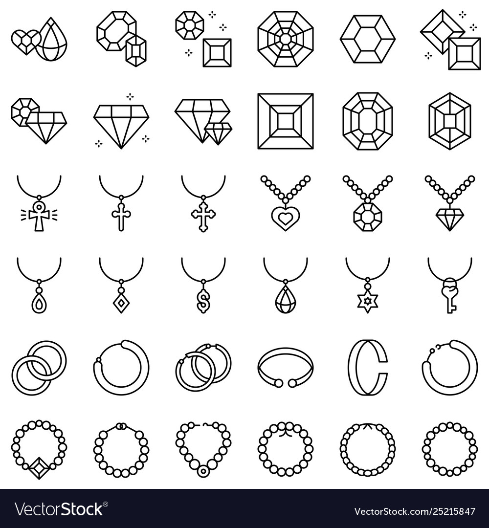 Accessories and jewelry icon set line style