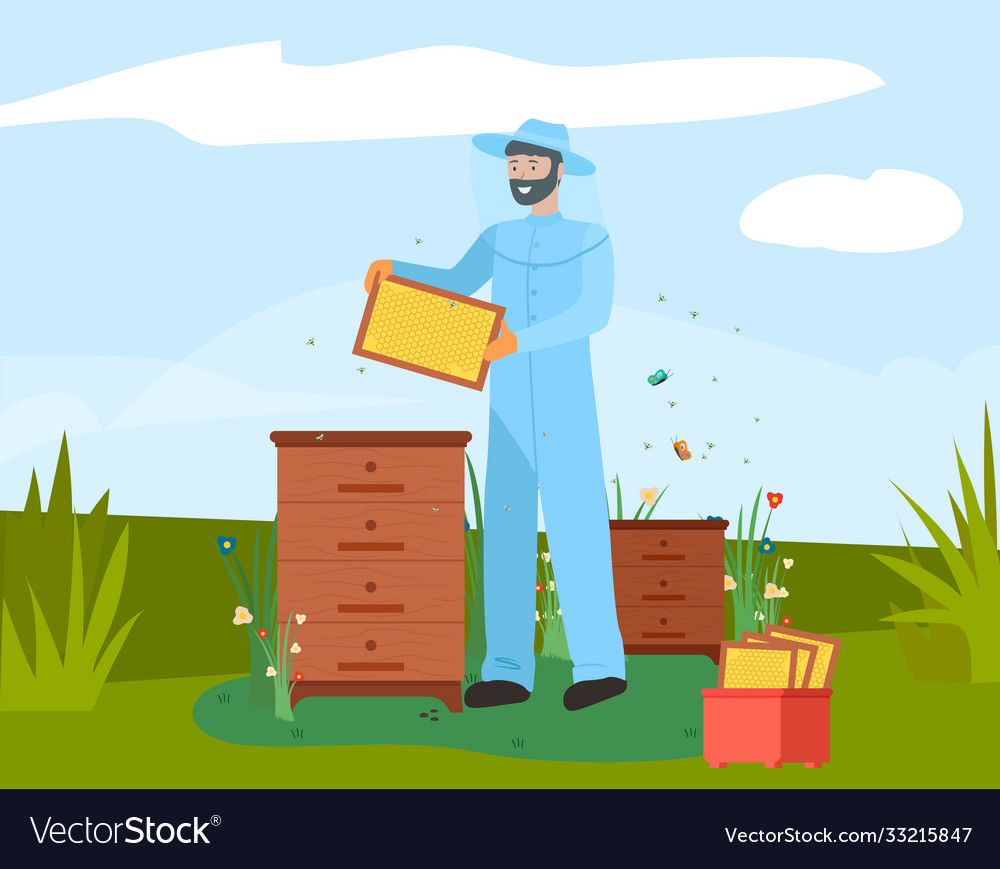 Beekeeper with honeycomb on apiary icon bearded