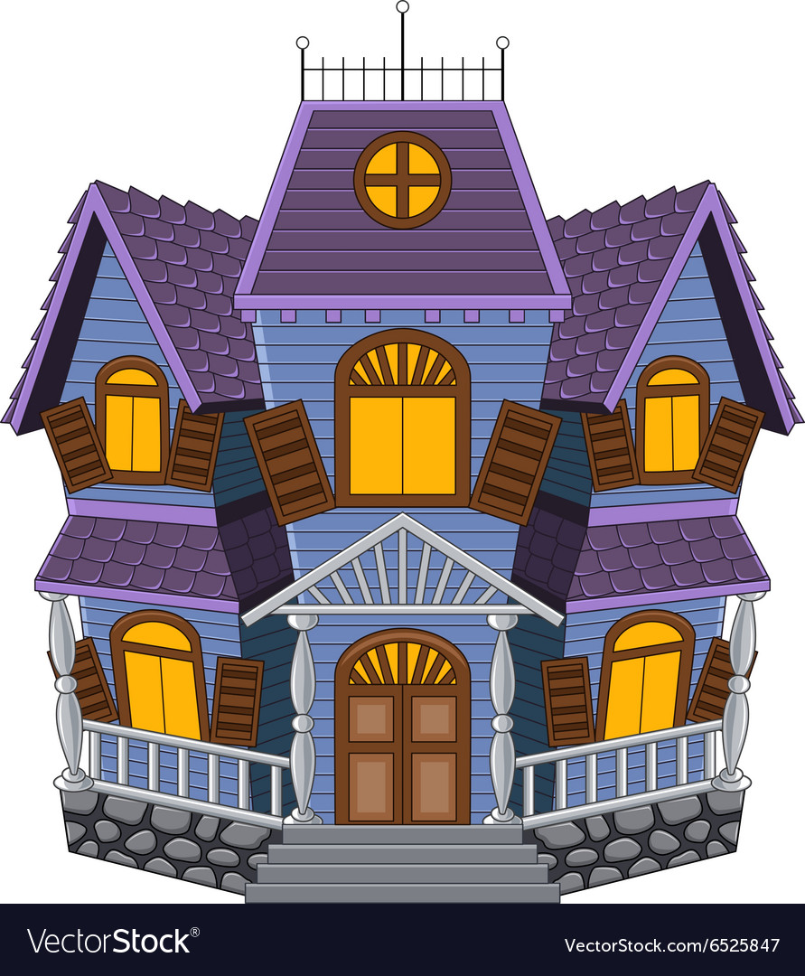 Cartoon scary house isolated on white background