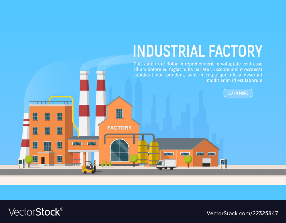 Flat industrial factory or plant on city