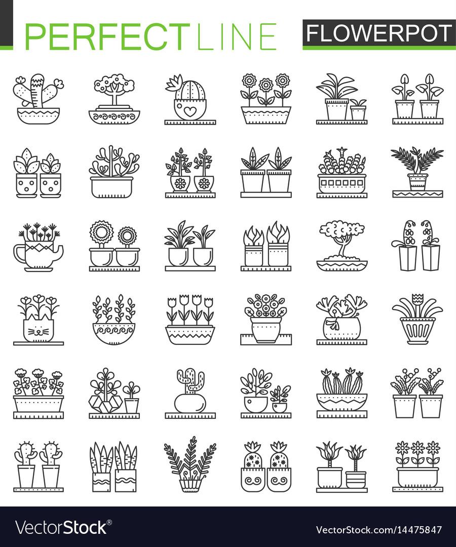Flowers in pots outline concept symbols flowerpot