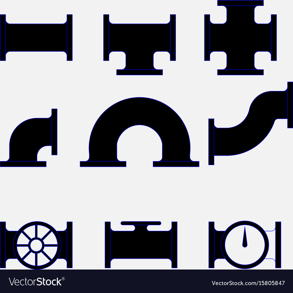 Icons of tubes pipes stroiyka vector image