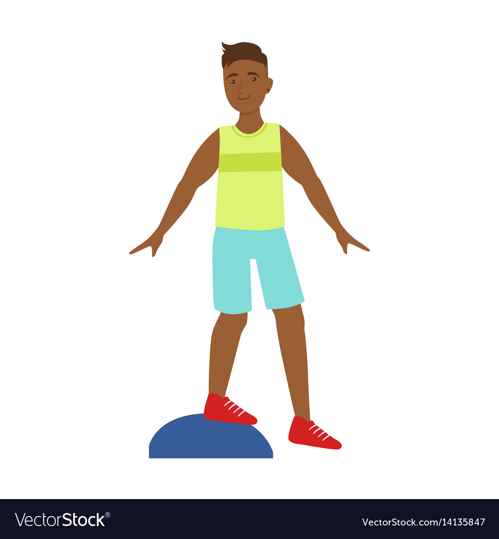 Man doing exercises on a platform colorf vector image