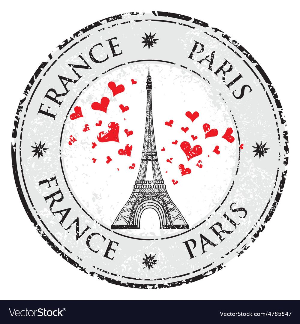 Paris town in France grunge stamp love heart