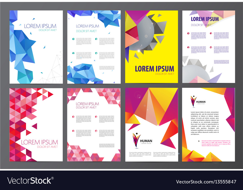 Set of flyers brochures abstract design 2