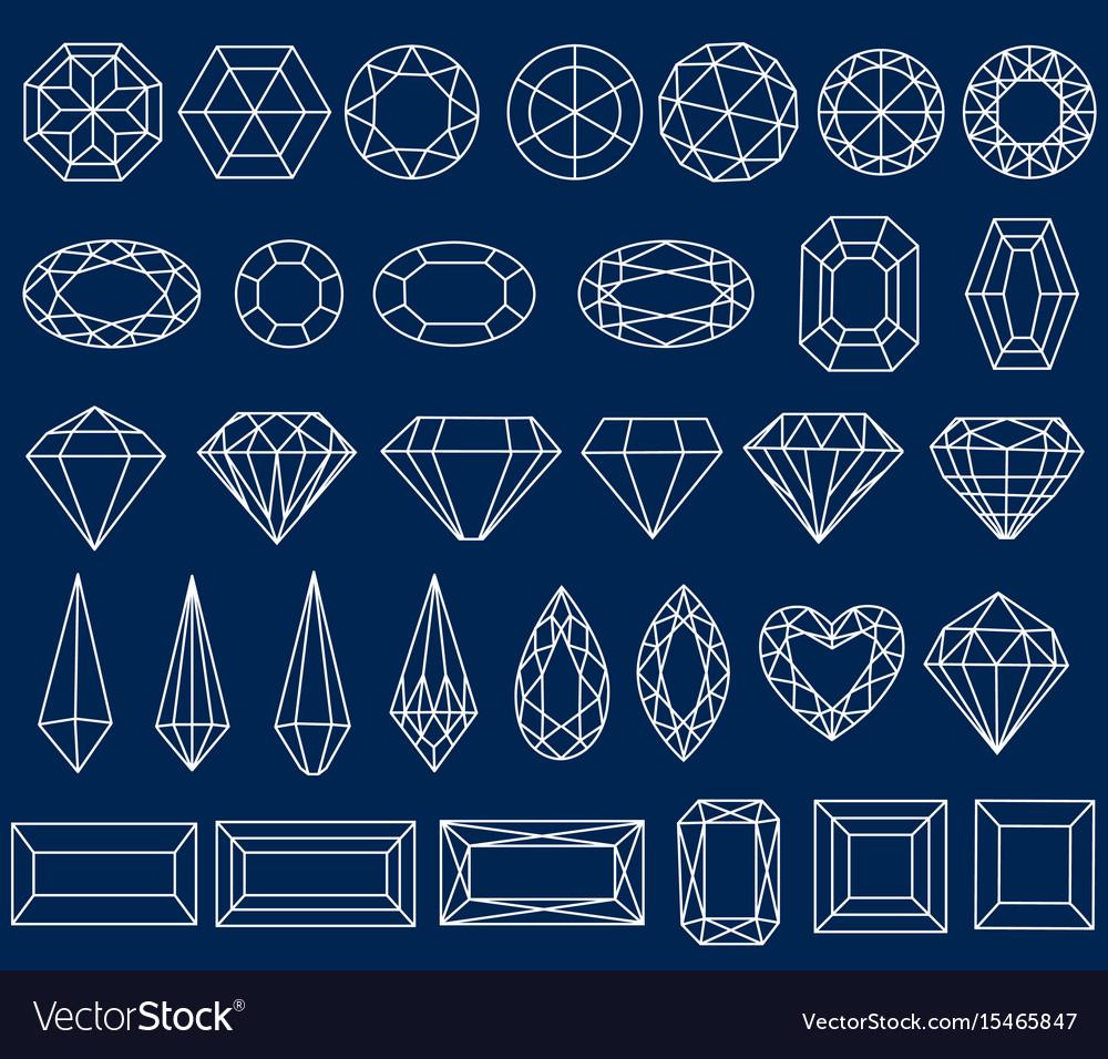 Set of precious stone cut vector image