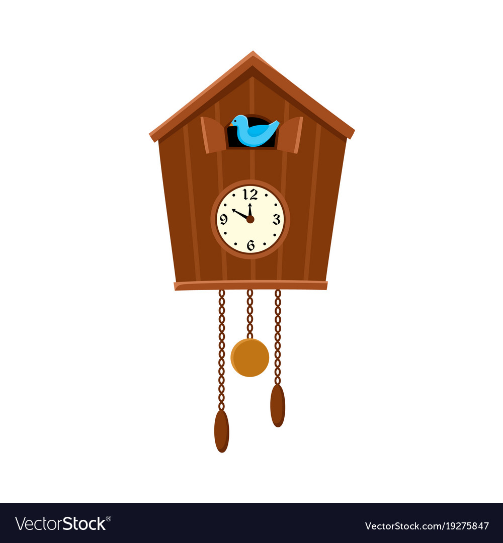 Traditional retro cuckoo clock hanging on the wall