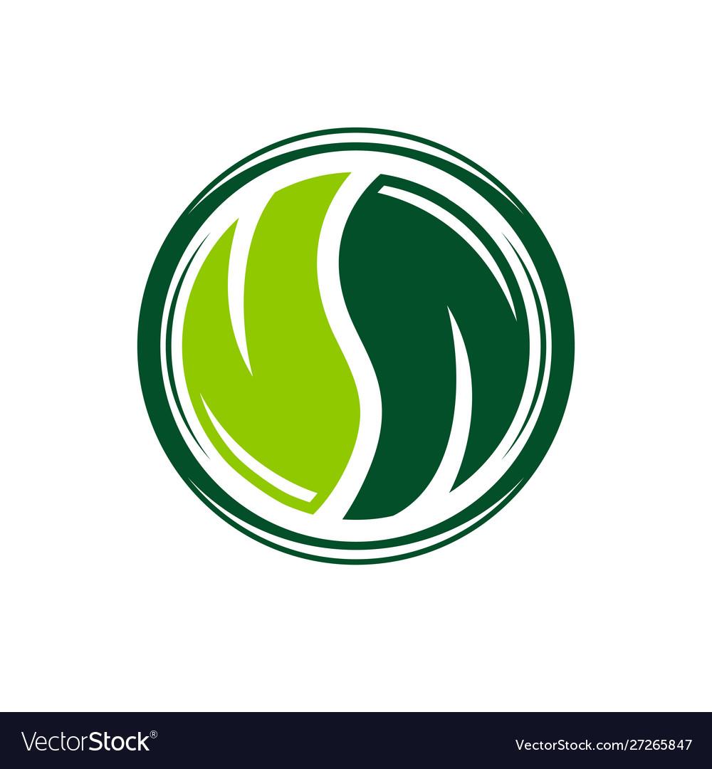 Yin and yang leaf logo design