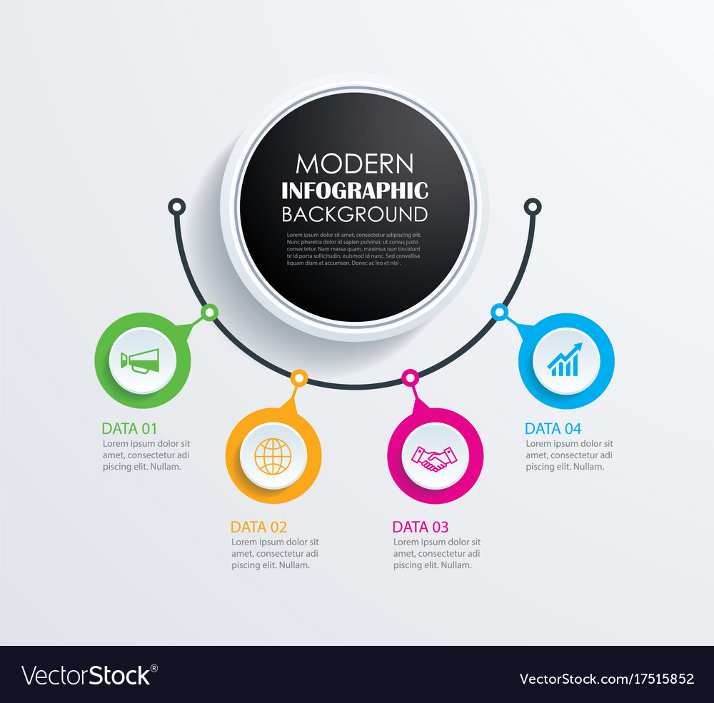 Abstract 4 circle infographics number options