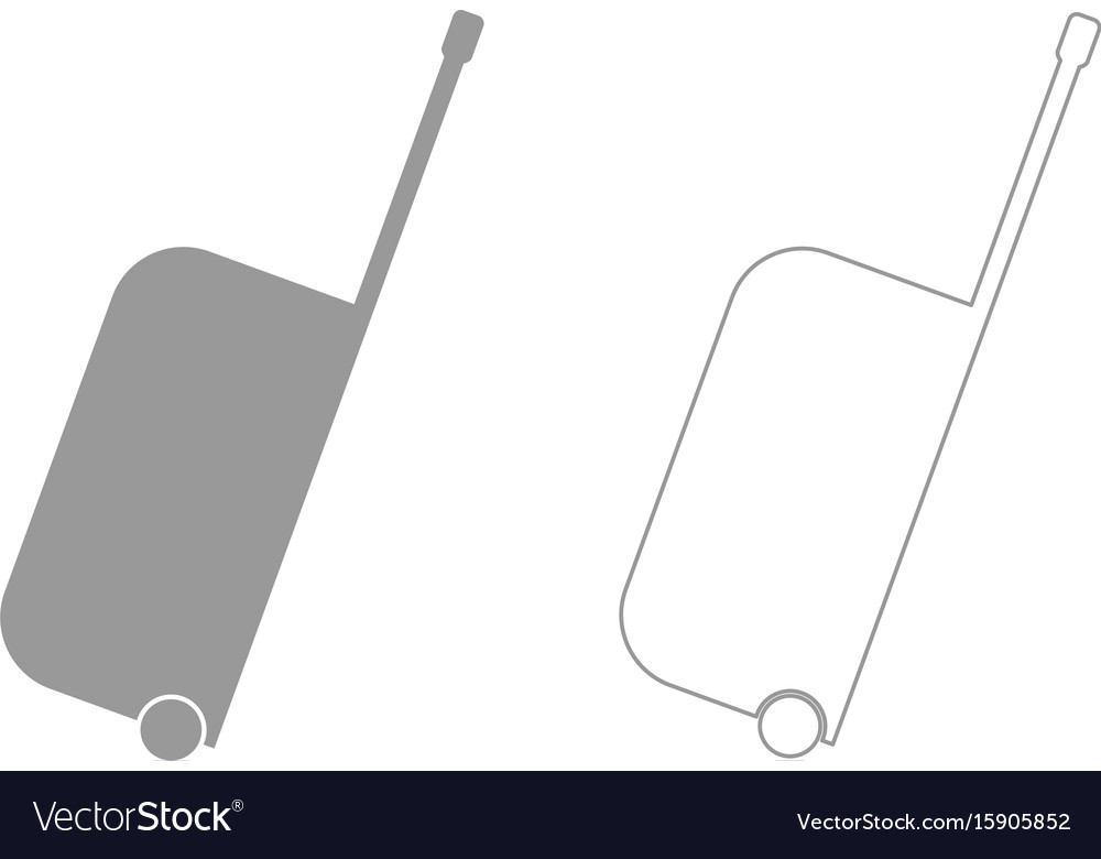 Bag on wheels the grey set icon vector image