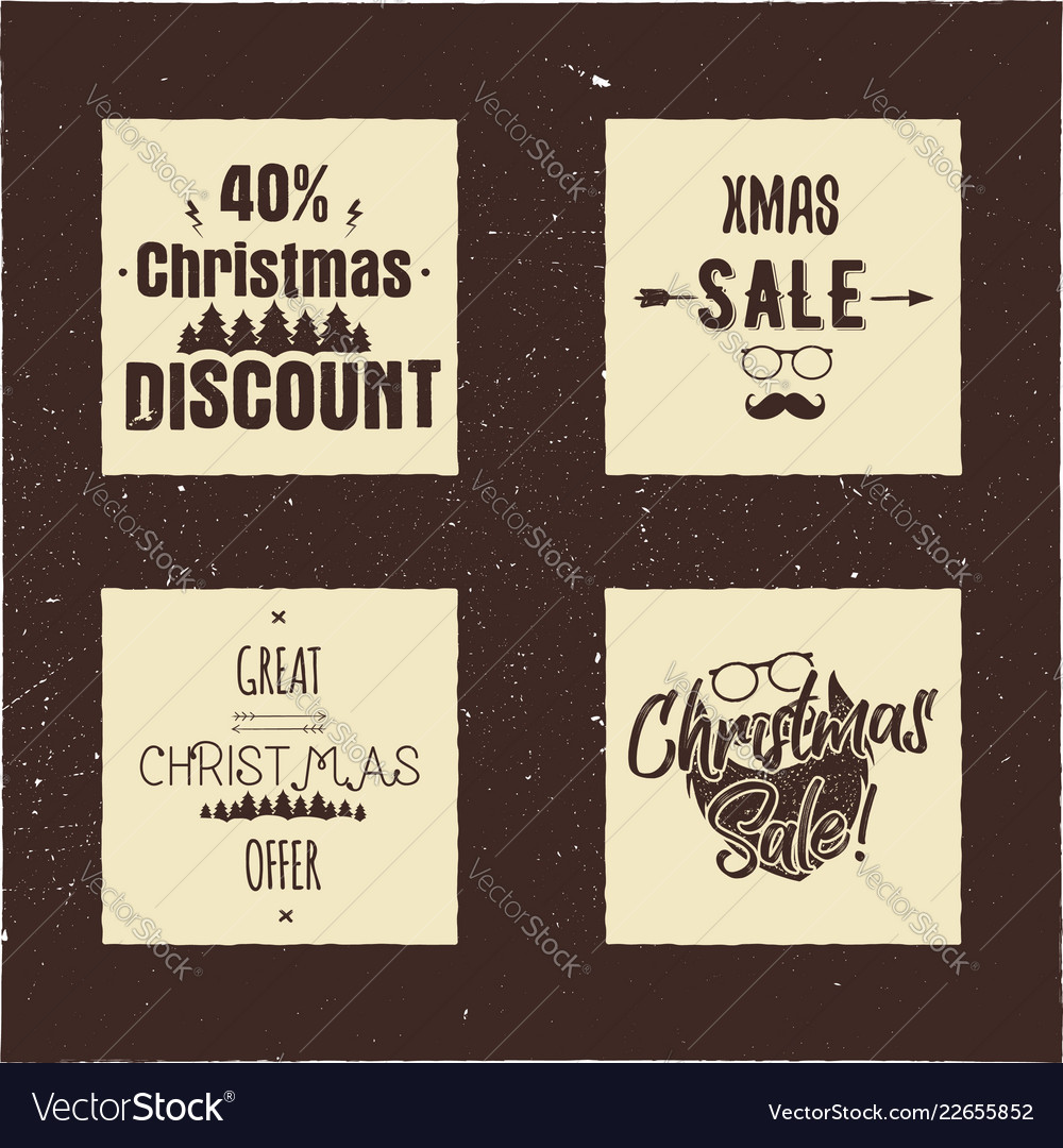 Christmas sale and discount typography cards